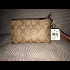 Coach Bags - Coach two pocket wristlet (Khaki/Saddle)